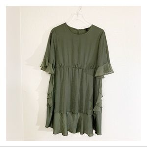 Who What Wear Cold Shoulder Ruffle Dress